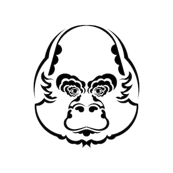 Monkey head coloring book illustration. black and white lines. print for t-shirts and coloring books.
