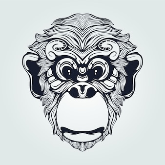 Monkey head line art with decorative eyes