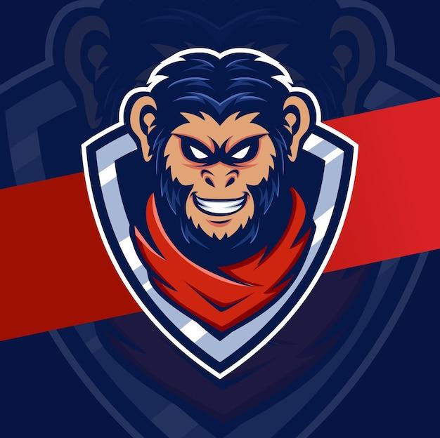 게임 및 스포츠 로고를 위한 원숭이 머리 마스코트 Esport 로고 디자인 캐릭터 프리미엄 벡터