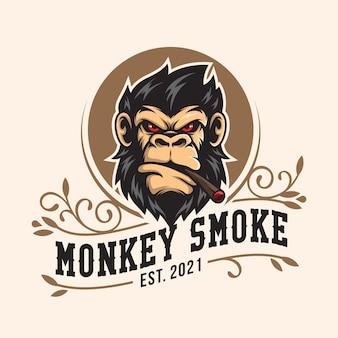 원숭이 머리 마스코트 로고 디자인 벡터 일러스트 레이 션