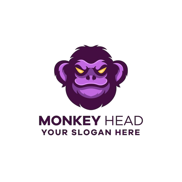 원숭이 머리 마스코트 로고 템플릿