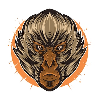 Monkey head vector illustration high detail artwork