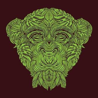 Голова обезьяны с рисунком леса