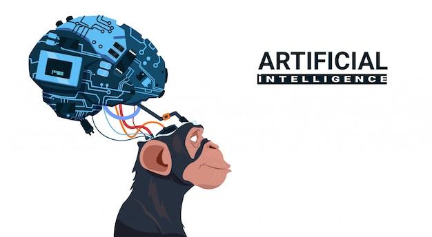 白い背景の上の現代サイボーグ脳を持つ猿の頭人工知能の概念