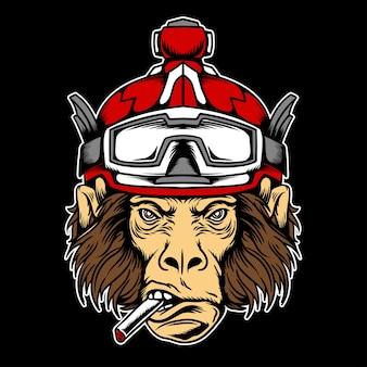 スキーヘルメットイラストと猿の頭