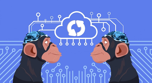 サイボーグ脳サーキットの背景上で更新すると猿の頭