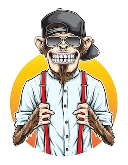 Monkey hipster vector