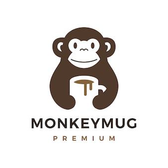 Monkey hold mug coffee drink logo icon illustration