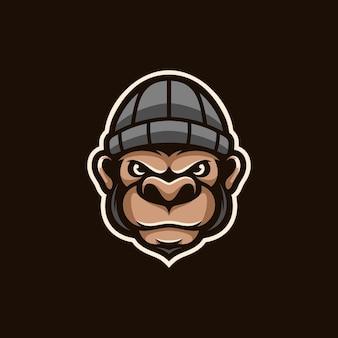 원숭이 후드 마스코트 디자인 벡터