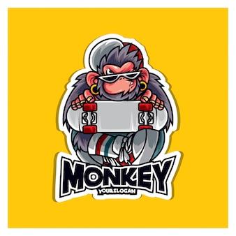猿のイラストのロゴ