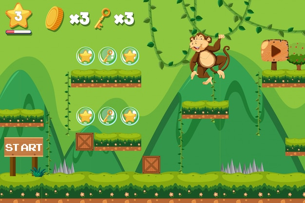 A monkey jumping game template