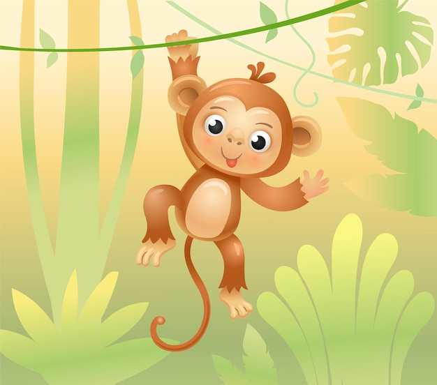 The monkey jumps on branches and vines