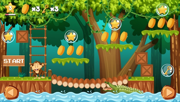 Monkey in jungle game template