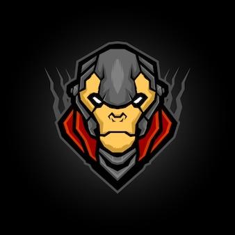Дизайн логотипа талисмана короля обезьян, армия обезьян с иллюстрацией брони