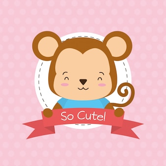 Monkey label, cute animal, cartoon and flat style, illustration