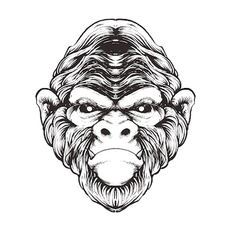 원숭이 라인 아트 그림