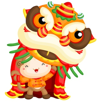 Monkey lion dance