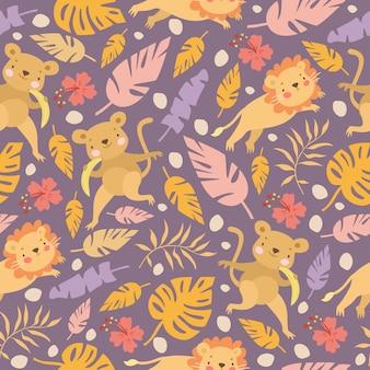 Monkey and lion pattern
