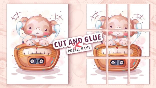 Monkey listen radio cut and glue  puzzle game