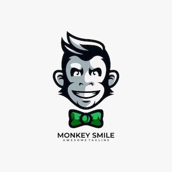 원숭이 로고 디자인 벡터 평면 색상