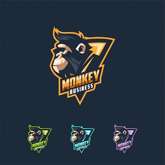 Monkey logo design vector illustration template