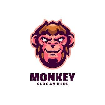 白で隔離される猿のロゴ