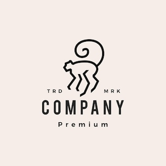 Monkey long tail hipster vintage logo vector icon illustration