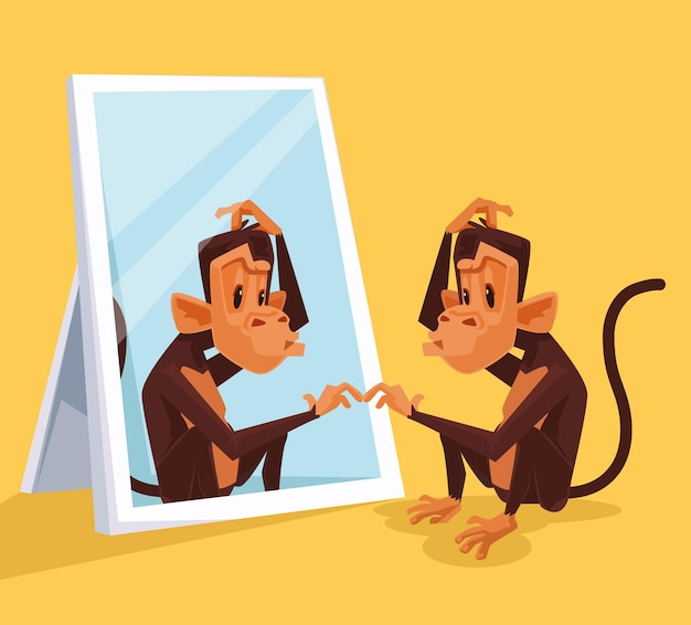 Monkey looks in mirror and did not understand who it is, flat cartoon illustration