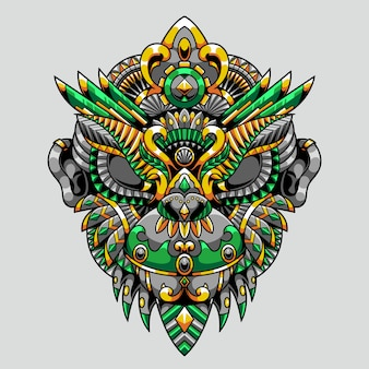 Monkey mandala zentangle illustration and tshirt design premium