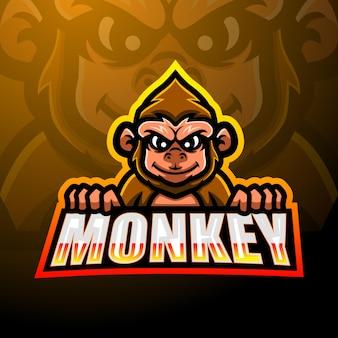 Обезьяна талисман киберспорт дизайн логотипа
