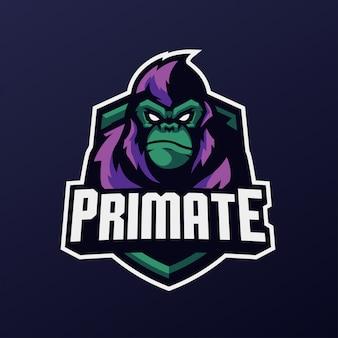 スポーツとeスポーツのロゴの猿のマスコット