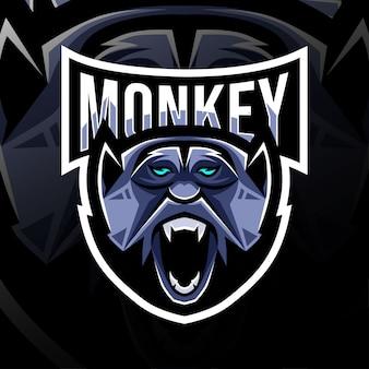 Обезьяна талисман логотип дизайн киберспорт