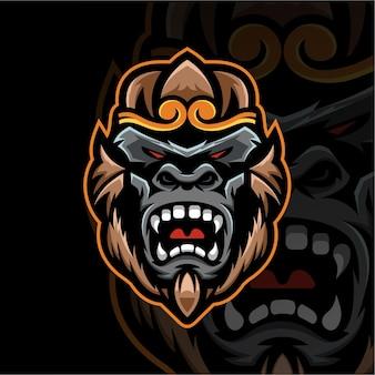 원숭이 마스코트 로고 esport 로고 팀 스톡 이미지