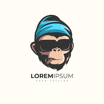 Monkey mascot logo premium