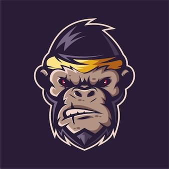猿のマスコットのロゴ
