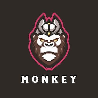 원숭이 마스코트 로고 프리미엄 벡터