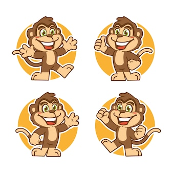 Monkey mascot sticker character design