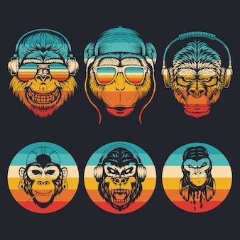 Monkey music collection retro illustration