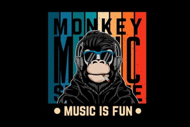 원숭이 음악, 음악은 재미있는 복고풍 디자인입니다.