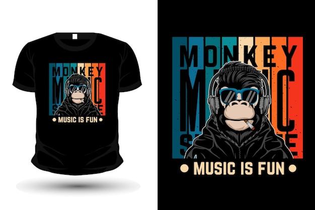 원숭이 음악, 음악은 재미있는 복고풍 상품 티셔츠 디자인입니다.