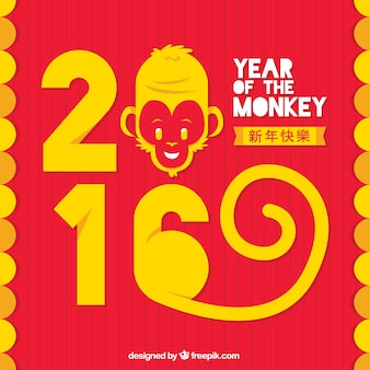Monkey new year background in yellow and red color