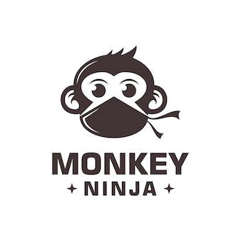 Monkey ninja logo vector
