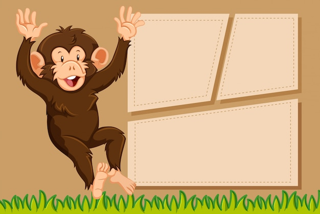 A monkey on note template