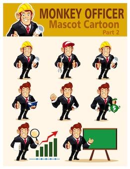 벡터에서 원숭이 장교 마스코트 만화