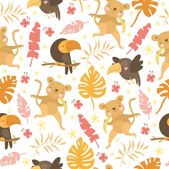 Monkey and parrot pattern