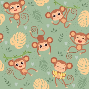 猿のパターン。ジャングルツリーテキスタイルデザインプロジェクトのシームレスな漫画背景で遊ぶ野生の小さな動物チンパンジー
