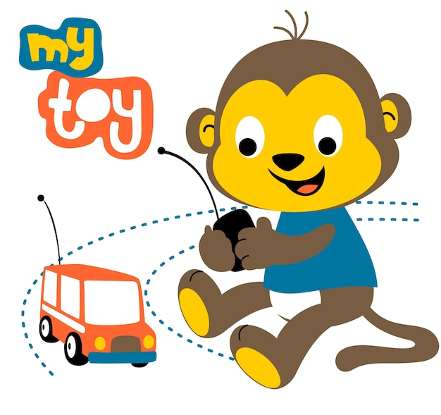 Monkey play toy cartoon vector