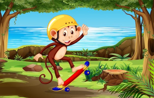 A monkey playing skateboard th nature