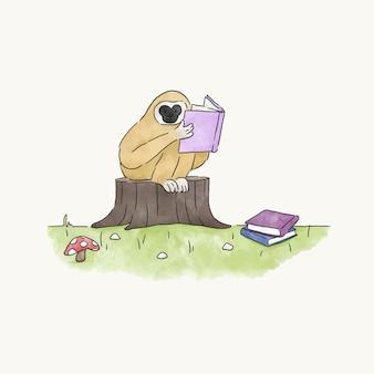本から読んでいる猿