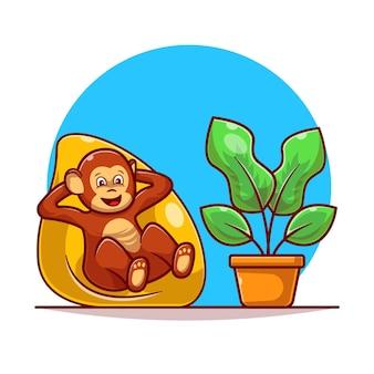 Monkey relaxing on pillow flat illustration